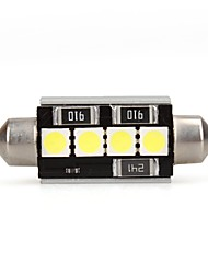 41mm CANBUS NO ERROR 4 SMD LED White Car Dome Festoon Interior Light Bulb (2 Pcs)