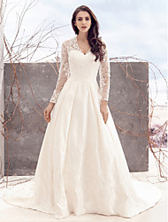 Lanting Bride® A-line Wedding Dress Chapel Train V-neck Lace / Satin with Lace