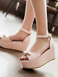 Women's Shoes Wedges / Heels / Peep Toe / Platform Sandals / Heels Outdoor / Dress / Casual Green / Pink / Beige