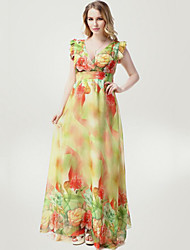 Women's Beach Plus Size / Swing Dress,Floral V Neck Maxi Sleeveless Yellow Polyester Summer
