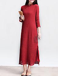 Women's Vintage / Casual / Day Solid Sheath Dress , Ethnic Print Slim Waist Thin Low Slits Cheongsam Cotton / Linen