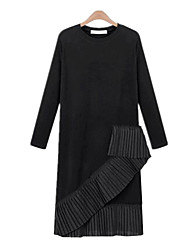 Spring Plus Sizes Women's Folds Spiral Splice Round Neck Long Sleeve Was Thin Casual Party Dress