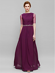 Lanting Sheath/Column Mother of the Bride Dress - Grape Floor-length Half Sleeve Chiffon / Tulle
