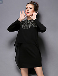 Fashion Women Vintage High Bead Long Sleeve Plus Size Loose Asymmetric Dress