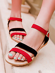 Women's Shoes Suede Wedge Heel Wedges / Peep Toe Sandals Outdoor / Dress / Casual Black / Purple / Black and Red