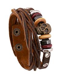 Skeleton Beads Cutting Leather Bracelets
