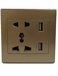 двойной USB многофункциональный золото нувориш 5 отверстий сокет