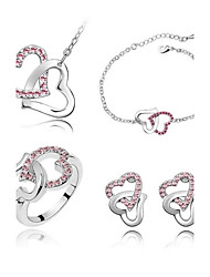 Whole Sale Crystal Jewelry Set Elegant Crystal Design Heart Pendant Necklace Earrings Ring Bracelet Girlfriend Gift
