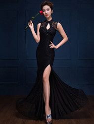 Formal Evening Dress - Black Trumpet/Mermaid High Neck Floor-length Lace