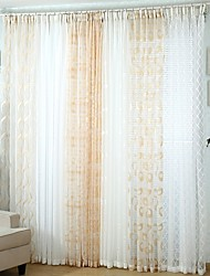 Two Panels Modern Solid Multi-color Bedroom Polyester Sheer Curtains Shades