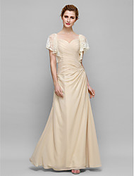 Lanting Bride Sheath / Column Mother of the Bride Dress Ankle-length Short Sleeve Chiffon with Lace / Criss Cross