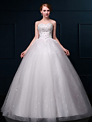 A-line Wedding Dress - White Floor-length Sweetheart Lace / Organza
