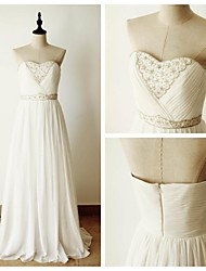 Formal Evening Dress - Ivory Ball Gown Sweetheart Floor-length Chiffon