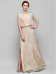 Sheath/Column Mother of the Bride Dress - Floor-length Sleeveless Chiffon / Lace