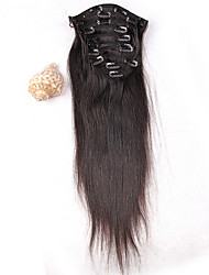 Hot Sale Peruvian Virgin Hair Clip In Extension Human Hair Weave Extension Silky Straight 8Pcs/ Set 100g Extension