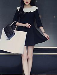 casual / dia / de cor simples estilo coreano das mulheres bloquear um vestido de linha, colarinho Ruff mini-outros
