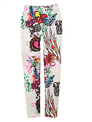 Women Leggings Graffiti Tattoo Bird Print High Elastic Slim Punk Pants Trousers