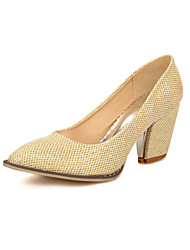 Women's Shoes  Chunky Heel Pointed Toe / Closed Toe Heels Office & Career / Dress / Casual Pink / Silver / Gold