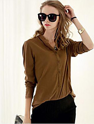 Women's Solid Button Neck Red / Black / Yellow Blouse , Stand Long Sleeve T Shirts