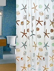 120*180 Lazy Sea Star and Shell Shower Curtain PEVA Waterproof Thickening Bath Curtain with 8 Hookers