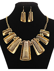 MPL Europe and the United States geometric trapezoidal Fashion Necklace Earrings Set