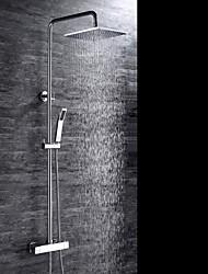 Moderna Sistema do Chuveiro Chuveiro Tipo Chuva Chuveiro de Mão Incluído Termostática with  Válvula Cerâmica Três Aberturas Duas alças de
