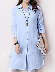 Women's Solid Blue / Pink / Yellow Loose Thin Shirt , Shirt Collar Asymmetric Cotton / Linen