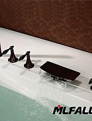 Mlfalls Contemporary Triple Handles Antique Bronze Waterfall Bathtub  Brass Hand Shower Faucet