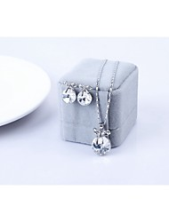 Crystal Jewelry Set Classic Elegant Unique Design Bow Pendant Necklace Earrings Girlfriend Gift