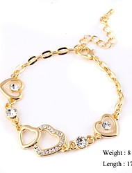 European Style Heart Zircon Chain Bracelet Gold Plated