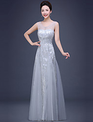 Formal Evening Dress A-line V-neck Floor-length Tulle / Sequined with Draping / Pearl Detailing / Side Draping / Sequins