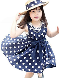 Girl's Summer Polka Dots Dark Blue Sleeveless Dress