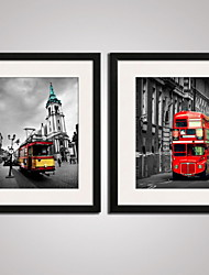 Framed   UK Cityscape with the Red Bus Modern Canvas Art Set of 2 Ready To Hang