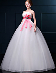 A-line Wedding Dress - White Floor-length Strapless Lace / Organza
