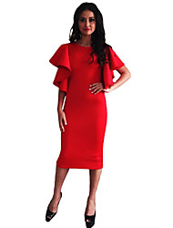 Women's Butterfly Sleeve O-Neck Bodycon Dress