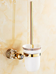 Neoclassical Antique Copper Wall Mounted  Crystal and Gold Toilet Brush Holder