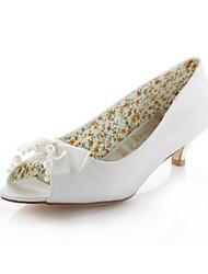 Women's Spring / Summer / Fall Heels / Peep Toe Stretch Satin Wedding / Dress / Party & Evening Low Heel Pearl / Ribbon Tie Ivory