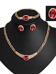 Lucky Doll Vintage Crystal Gem 18K Gold Plated Zirconia Tassel Necklace & Earrings & Bracelet & Ring Jewelry Sets