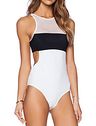 Women's Halter One-pieces , Sport / Mesh Wireless Polyester White