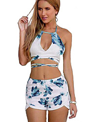 Women's Beach Sexy Summer Set,Floral Halter Sleeveless White Rayon / Polyester Thin