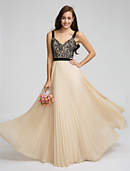 Lanting Floor-length Chiffon Bridesmaid Dress - Champagne A-line Straps