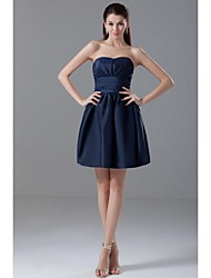 Short / Mini Taffeta Bridesmaid Dress Ball Gown Strapless with Side Draping