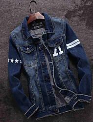 Spring and autumn Korean men's denim jacket jacket youth wear Japanese retro stamp denim clothes