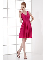 Lanting Bride® Short / Mini Taffeta Bridesmaid Dress - A-line V-neck with Side Draping