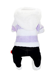Dog Hoodie / Clothes/Jumpsuit Blue / Purple Dog Clothes Winter Stripe / Jeans Fashion