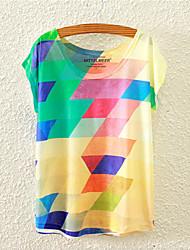 Damen Blumen Niedlich Lässig/Alltäglich T-shirt,Rundhalsausschnitt Alle Saisons Kurzarm Mehrfarbig Baumwolle Mittel