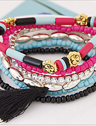 MISSING U Vintage / Party Alloy / Leather Beaded / Stacked / Braided/Cord / Stretch Bracelet