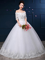 A-line Wedding Dress - White Floor-length Off-the-shoulder Lace / Satin