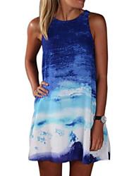 Women's Sexy Print Loose Dress , Round Neck Above Knee Nylon