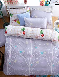 Floral Duvet Cover Sets 4 Piece Pattern Reactive Print  Twin Full Queen King 1pc Duvet Cover 2pcs Shams 1pc Flat Sheet